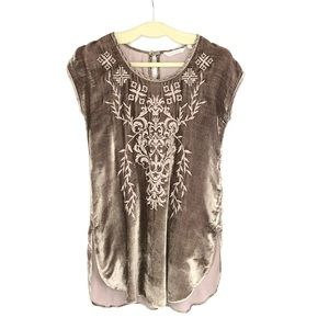 Soft Surroundings Taupe Velvet Embroidered Tunic